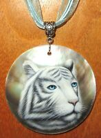 Pendant WHITE SIBERIAN TIGER Shell Genuine RUSSIAN hand painted round Black Lip