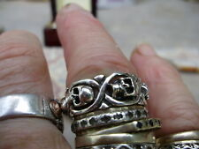 Fully restored vintage sterling silver ornate skull ring, sz 8