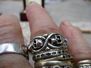 Fully restored vintage sterling silver ornate skull ring, large sz 12