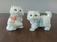 Homco Porcelain Kittens W/ Blue and Peach Bows Vintage Set of 2 Cats