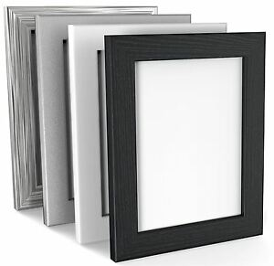 BLACK WHITE SILVER PICTURE FRAME PHOTO FRAME WOOD EFFECT VARIOUS SIZES SQUARE
