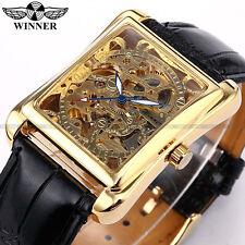 Skeleton Gold Watch Retro Designer Rectangle Black Leather Men Casual Watch