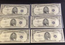 Six Consecutive 1953-A Five Dollar UNC Silver Certificates