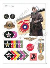 PLANCHE UNIFORM PRINT WWI US Marine Corps  naval infantry US ARMY 1918