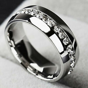Stainless Steel CZ Ring Womens Mens Jewelry Titanium Ring Wedding Party Size 13