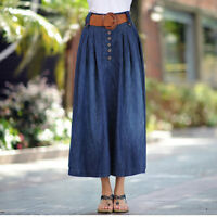 Women Denim Skirt Stretch New Pleated Long Dress Slim Jean Plus Size Lady 6XL