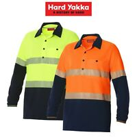 Mens Hard Yakka Koolgear Hi-Vis 2 Tone Vented Tape Long Sleeve Work Shirt Y11379