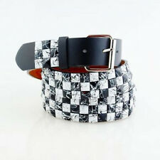 Pyramid Studded Snap On Leather Belt L 36-40 White Black Line