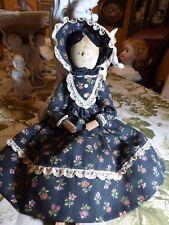 """Antique 13"""" DOLL Penny Grodnertal Peg Wooden Articulated Limbs/Dress/Bonnet"""