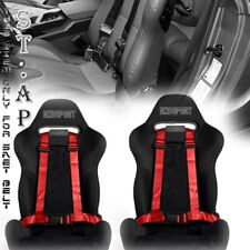 "US-CAR 2X(TWO) JDM 4-POINT RACING SAFETY HARNESS 2"" INCH STRAP SEAT BELT RED/YL"