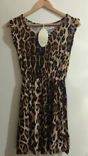 Womens Girls Dress Leopard Print Ribbed Swing Tunic Short Sleeve Top Size 12