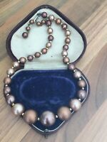 Bronze Faux PEARL Single Strand NECKLACE Choker