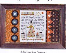 Fair Philomel - folk art style sampler cross stitch chart - Barbara Ana Designs