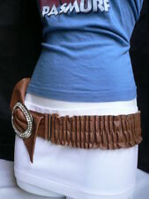 Women Casual Brown Bow Silver Rhinestones Buckle Stretchy Belt Size XS S M