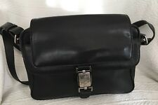 BRAUN BUFFEL Black Leather Perforated Messenger Crossbody Purse Bag-NICE