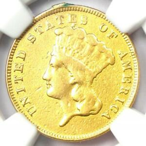 1867 Three Dollar Indian Gold Coin $3 - Certified NGC AU Details - Rare Date!