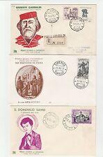 FRANCOBOLLI 1957 REPUBBLICA 3 FDC SAVIO + DI PAOLA + GARIBALDI Z/4205
