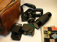NIKON EM 35mm FILM CAMERA w/ Komuranon 80-210mm LENS +++