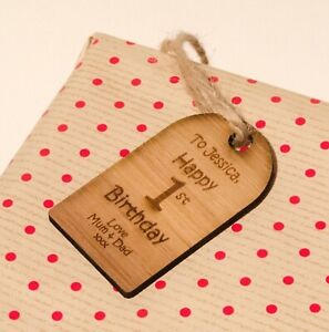 Rustic Wooden Happy Birthday Gift Tag With Engraved 1st Personalised Message.