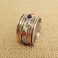 925 Sterling Silver 3 Tone Lapis & Red Coral Spinning Band Ring Thumb 14mm Size