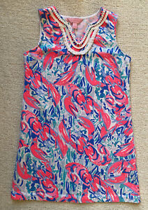 Lilly Pulitzer Girls Mini Harper Shift Dress Cosmic Coral Cracked Up 8-10 Large