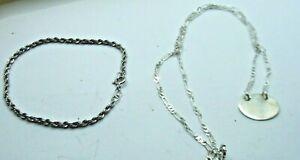 Lot  2 Genuine .925 Sterling Silver Items - Bracelet & ID Necklace 8.3g #28