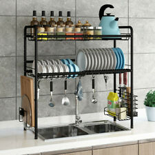 Black Dish Dryer Drying Rack Over the Sink 2-Tier Drainer Kitchen Storage Holder