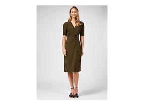 Nina Leonard Wrap Front Midi Dress with Ring Detail Olive Size Large BNWT