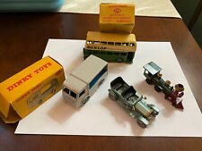 4 Dinky & Lesney - Dunlop Double Bus +box, 1907 Rolls, Amer Loco, Dairy Van +box