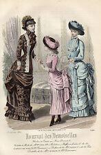 """113/ GRAVURE DE MODE """"  JOURNAL des DEMOISELLES """" 1882 SUPERBES COULEURS !"""