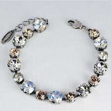 Bracciale TENNIS ARGENTO 16 swarovski cristalli crystal SILK Silver Shade chiaro bianco