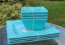 NEW Tommy Bahama Set of 8 Turquoise MELAMINE Square Plates & Bowls Hobnail Edge
