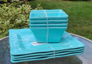 NEW Tommy Bahama Set of 8 Turquoise MELAMINE Square Plates & Bowls Hobnail Edge