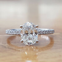 3.25 CT Oval Shape Diamond 14K White Gold Solitaire With Accents Engagement Ring