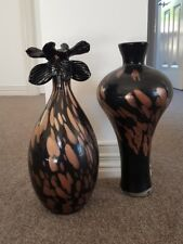 Delicate Glass Black and Bronze Orchid Vases (Two piece vase set)