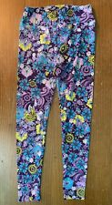 LuLaRoe Women's Bright Floral Design Leggings - One Size, Purple, Blue, Yellow