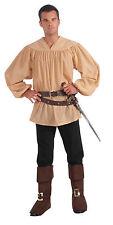 Men's Beige Medieval Renaissance Muslin Shirt Adult Standard Size
