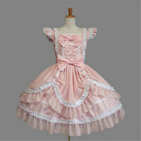 Sweet Lolita Punk Gothic Maid Wear Lace Bows Dress Cosplay Costume Halloween