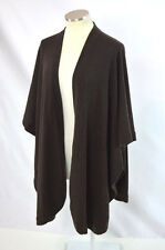 Soft Luxe Dark Brown Pure Cashmere Draped Poncho Cape Shawl Sweater Free Size