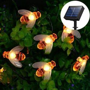 Led String Fairy Light Cute Honey Bee Solar Powered Outdoor Garland Decoration