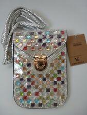 Multi Coloured Diamante Evening bag, Clutch with Detachable Handle (Silver/Blac)