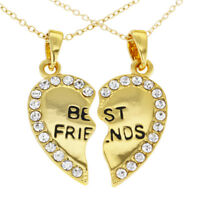 14k Gold Plated Best Friends Forever Clear Crystals Heart Necklace Pendant 19""