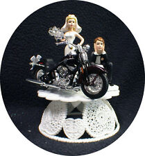 Wedding Cake Topper w/ Sexy Dark Purple die cast Harley Davidson Motorcycle top
