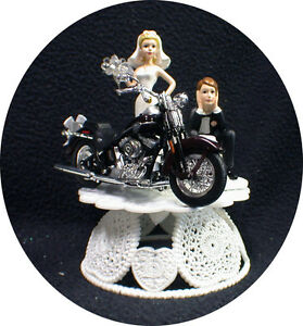 Wedding Cake Topper w/ Sexy Dark Purple die cast Harley Davidson Motorcycle top