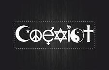 Adesivi adesivo sticker tunning auto moto pace peace and love coexist bianco