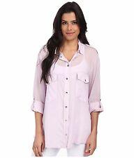SANCTUARY Long Sleeve Button Down Boyfriend Shirt Blouse Top Silver Pink XS $90