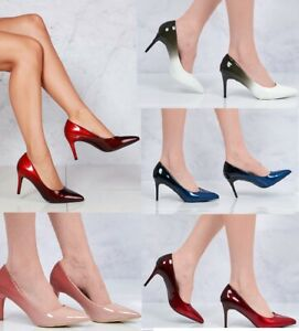 New Ladies Ombre Medium Heel Stiletto Pointed Fashion Party Evening Court Shoes