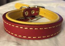 New Circle T Coastal Pet Products Premium Red/Yellow Leather Dog Collar 16