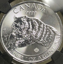 2019 $5 CANADA 1 OZ SILVER GRIZZLY BEAR NGC 💎MS70💎⭐️RARE⭐️FIRST RELEASES 🐻
