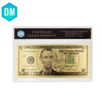 5 Dollar 24k Gold Banknote Collectible US Dollars Artwork with Plastic Case